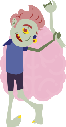 Green zombie waving his right arm around with his left hand. His left eyeball is falling out. There is a large pink brain in the background.
